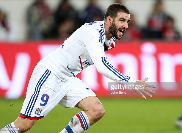 Lisandro Lopez of Lyon celebrates during the French Ligue 1 match between Paris Saint Germain FC and Olympique Lyonnais OL at the Parc des Princes...