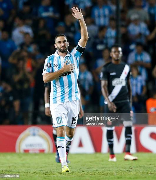Lisandro Lopez of Racing Club celebrates after scoring his team's fourth goal via penalty during a match between Racing Club and Vasco da Gama as...