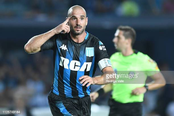 Lisandro Lopez of Racing Club celebrates after scoring the first goal of his team during a match between Racing Club and Godoy Cruz as part of...