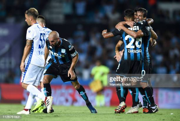 Lisandro Lopez of Racing Club celebrates after scoring the first goal of his team during a match between Racing Club and Godoy Cruz at Juan Domingo...