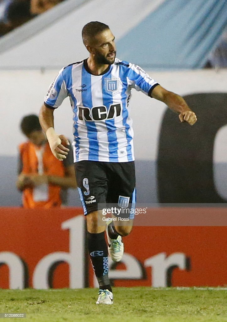 Lisandro Lopez of Racing Club celebrates after scoring the first goal of his team during a group stage match between Racing Club and Bolivar as part of Copa Bridgestone Libertadores 2016 at Presidente Peron Stadium on February 24, 2016 in Avellaneda, Argentina.