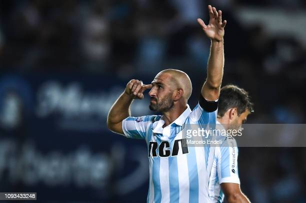 Lisandro Lopez of Racing Club celebrates after scoring the second goal of his team during a match between Racing Club and Huracan as part of...