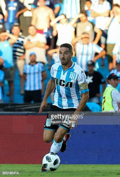 Lisandro Lopez of Racing Club controls the ball during a match between Racing Club and Lanus as part of Argentine Superliga 2017/18 at Estadio Juan...