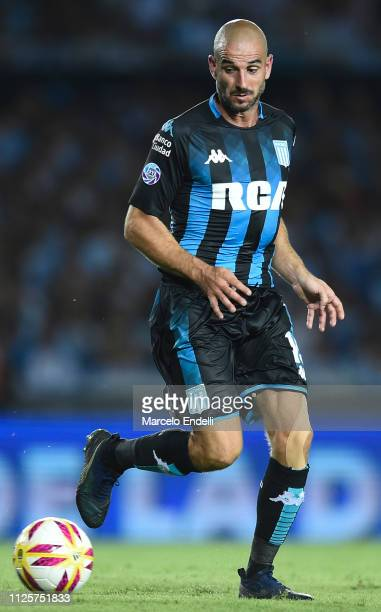 Lisandro Lopez of Racing Club drives the ball during a match between Racing Club and Godoy Cruz at Juan Domingo Peron Stadium on February 18 2019 in...