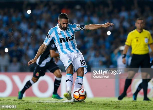 Lisandro Lopez of Racing Club kicks the penalty during a match between Racing Club and Vasco da Gama as part of Copa CONMEBOL Libertadores 2018 at...