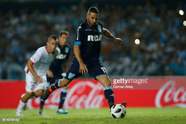 Lisandro Lopez of Racing Club shots to score the second goal of his team during a match between Racing Club and Huracan as part of Superliga...