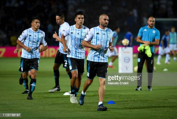 Lisandro Lopez of Racing Club warms up before a match between Racing Club and Godoy Cruz at Juan Domingo Peron Stadium on February 18 2019 in...