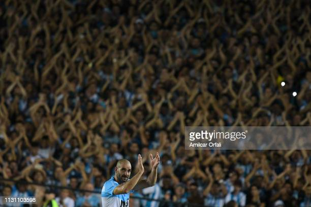 Lisandro Lopez of Racing greets the fans after a match between Racing Club and Belgrano as part of Superliga 2018/19 at Juan Domingo Peron Stadium on...