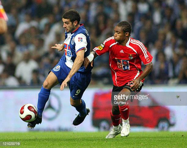 Lisandro López and Nélson during the Champions league match between FC Porto and SL Benfica at Dragao Stadium in Porto Portugal on October 28 2006