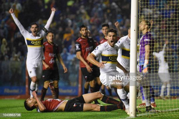 Lisandro Magallan of Boca Juniors celebrates after scoring the first goal of his team during a match between Boca Juniors and Colon as part of...