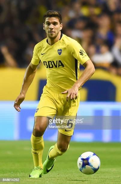 Lisandro Magallan of Boca Juniors drives the ball during a match between Boca Juniors and Godoy Cruz as part of Superliga 2017/18 at Alberto J...