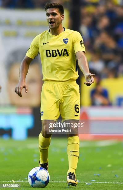 Lisandro Magallan of Boca Juniors drives the ball during a match between Boca Juniors and Belgrano as part of Superliga 2017/18 at Alberto J Armando...