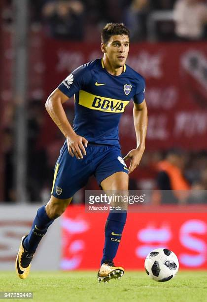 Lisandro Magallan of Boca Juniors drives the ball during a match between Independiente and Boca Juniors as part of Superliga 2017/18 on April 15 2018...