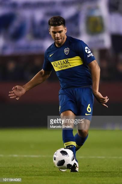 Lisandro Magallan of Boca Juniors kicks the ball during a match between Boca Juniors and Alvarado as part of Round of 64 of Copa Argentina 2018 on...