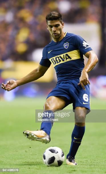 Lisandro Magallan of Boca Juniors kicks the ball during a match between Boca Juniors and Talleres as part of Superliga 2017/18 at Alberto J Armando...