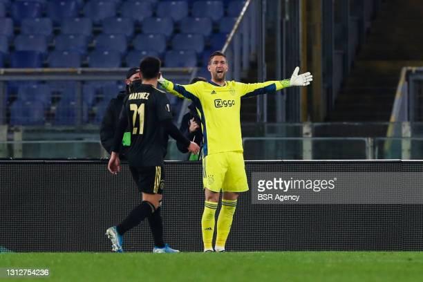 Lisandro Martinez of Ajax and goalkeeper Maarten Stekelenburg of Ajax during the UEFA Europa League Quarter Final: Leg Two match between AS Roma and...