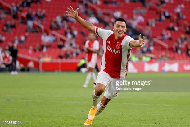 Lisandro Martinez of Ajax celebrates 3-0 during the Dutch Eredivisie match between Ajax v RKC Waalwijk at the Johan Cruijff Arena on September 20,...