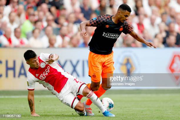 Lisandro Martinez of Ajax Cody Gakpo of PSV during the Dutch Johan Cruijff Schaal match between Ajax v PSV at the Johan Cruijff Arena on July 27 2019...