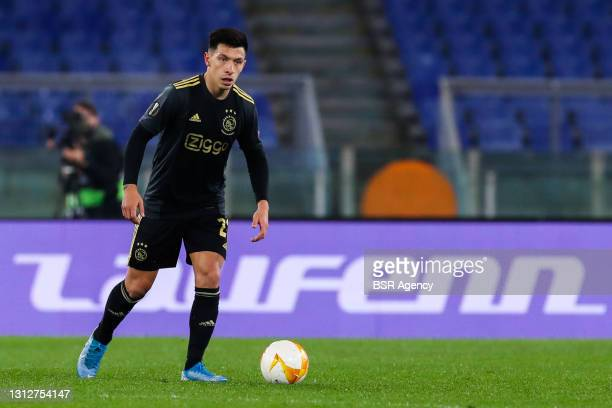 Lisandro Martinez of Ajax during the UEFA Europa League Quarter Final: Leg Two match between AS Roma and Ajax at Stadio Olimpico on April 15, 2021 in...