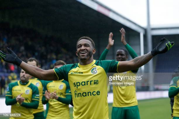 Lisandro Semedo of Fortuna Sittard celebrating the victory after the game during the Dutch Eredivisie match between Fortuna Sittard v Excelsior at...