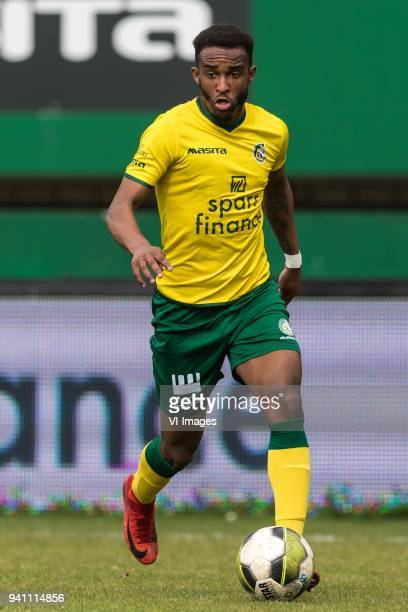 Lisandro Semedo of Fortuna Sittard during the Jupiler League match between Fortuna Sittard and Helmond Sport at the Fortuna Sittard Stadium on April...