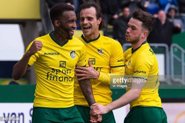 Lisandro Semedo of Fortuna Sittard Lars Hutten of Fortuna Sittard Jorrit Smeets of Fortuna Sittard during the Jupiler League match between Fortuna...