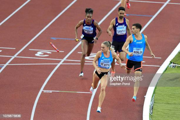 Lisanne De Witte loses the relay baton in the Mixed 4x400 Metre Relay during day two of the IAAF Continental Cup at Mestsky Stadium on September 9,...