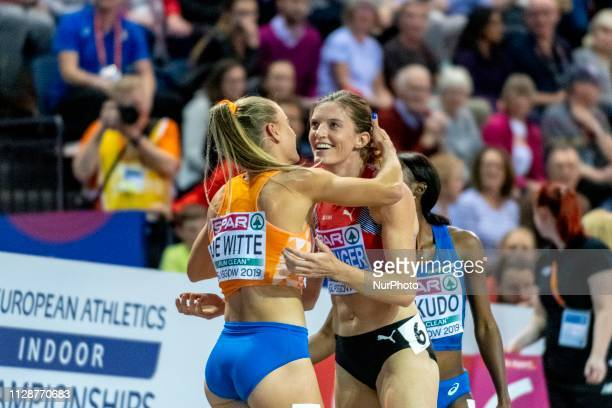 Lisanne de WITTE NED and SPRUNGER La SUI competing in the 400m Women Final event during day TWO of the European Athletics Indoor Championships 2019...