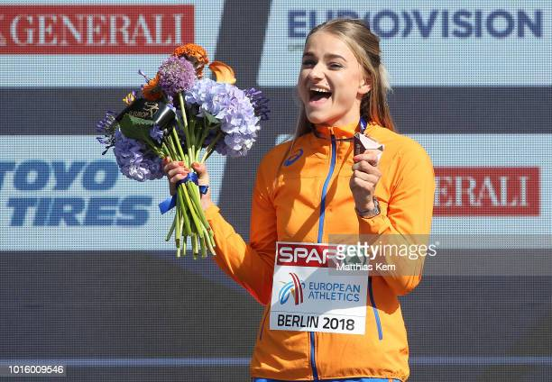 Lisanne de Witte of the Netherlands bronze poses with her medal for the Women's 400 metres during day six of the 24th European Athletics...