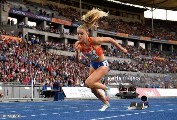 Lisanne de Witte of the Netherlands competes in the Women's 400m Final during day five of the 24th European Athletics Championships at Olympiastadion...