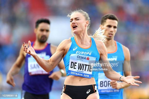 Lisanne De Witte reacts in the Mixed 4x400 Metre Relay during day two of the IAAF Continental Cup at Mestsky Stadium on September 9 2018 in Ostrava...