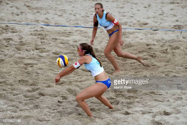 Lisa-Sophie Kotzan and Natascha Niemczyk of Germany in action during the match against Anna-Lena Grüne and Kira Walkenhorst of Germany on day two of...