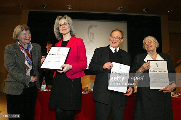 Lisbet Palme wife of slain Swedish Prime Minister Olof Palme pose for the photographer with Russian journalist Anna Politkovskaya Human Rights...