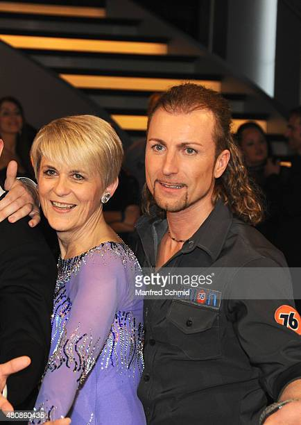 Lisbeth Bischoff and Gerhard Egger pose for a photograph during the 'Dancing Stars' TV Show after party at ORF Zentrum on March 21 2014 in Vienna...