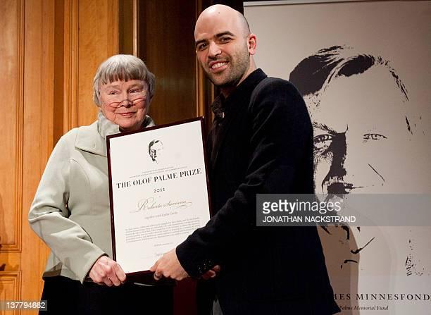 Lisbeth Palme widow of late Swedish Prime Minister Olof Palme presents the Olof Palme Award 2011 to Italian author and journalist Roberto Saviano...