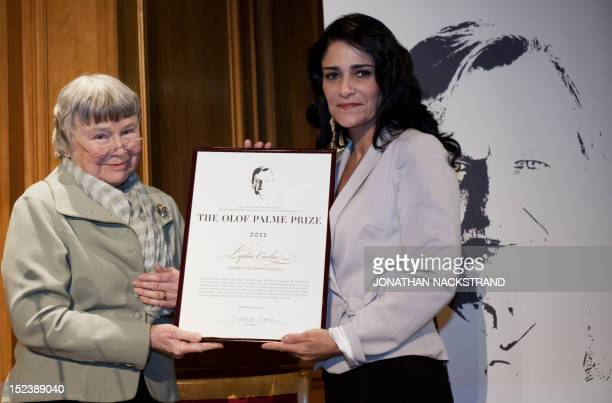 Lisbeth Palme widow of late Swedish Prime Minister Olof Palme presents the Olof Palme Award 2011 to Mexican feminist human rights activist journalist...