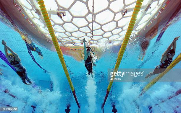 Lisbeth Trickett of Australia, Britta Steffen of Germany and Natalie Coughlin of the United States competes in the Women's 100m Freestyle Semifinal 1...