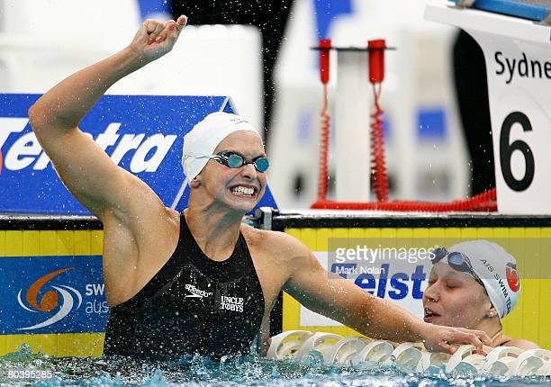 Lisbeth Trickett of Queensland celebrates after breaking the world record in the womens 100 metre freestyle2 final during day six of the 2008...