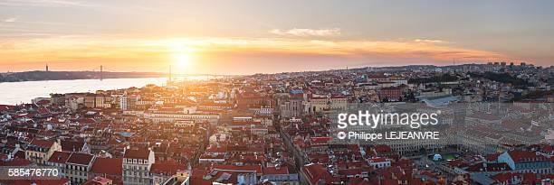 lisbon aerial panorama at sunset - lisboa fotografías e imágenes de stock