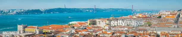 Lisbon aerial panorama over city landmarks 25 Abril bridge Portugal