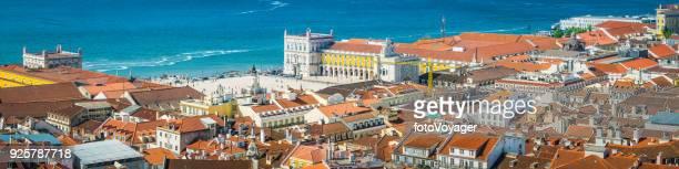 lisbon aerial panorama over praca do comercio iconic square portugal - statua di cristo re foto e immagini stock