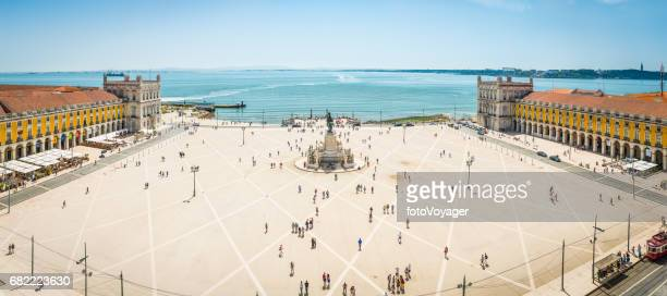 lisbon aerial panorama over praco do comercio waterfront square portugal - courtyard stock pictures, royalty-free photos & images