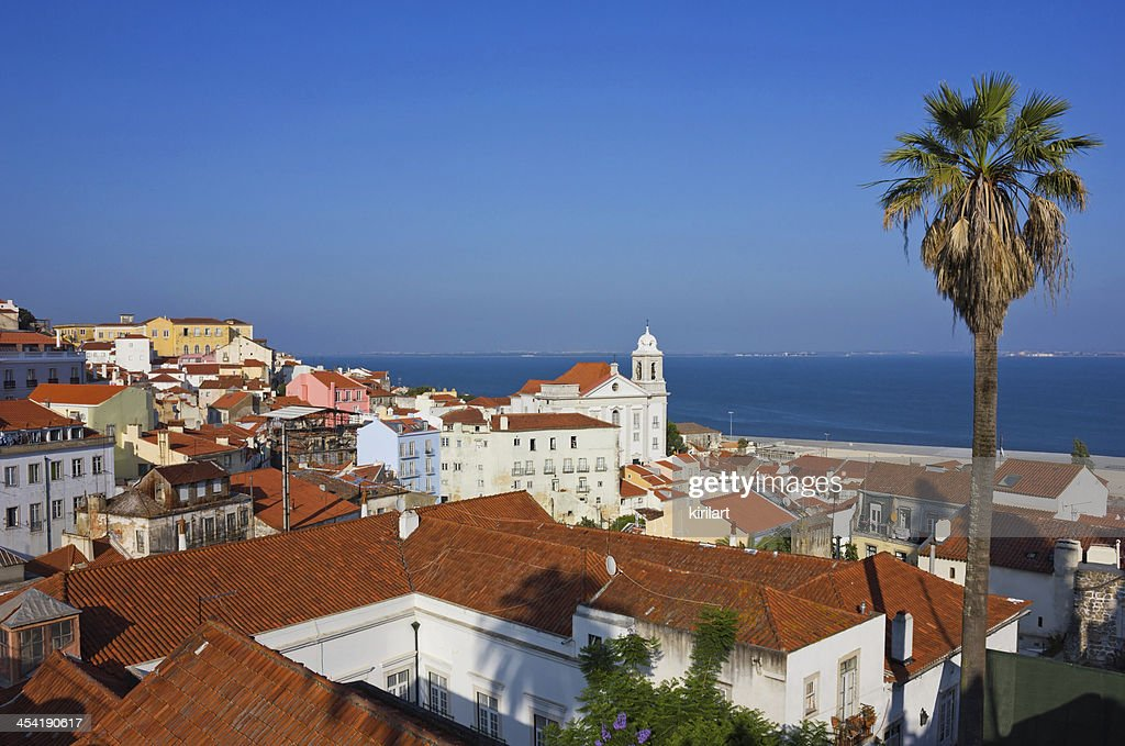 Lisbon Alfama Panoramic View Toward the River : Stock Photo