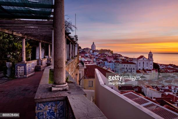 lisbon at dawn - alfama stock photos and pictures