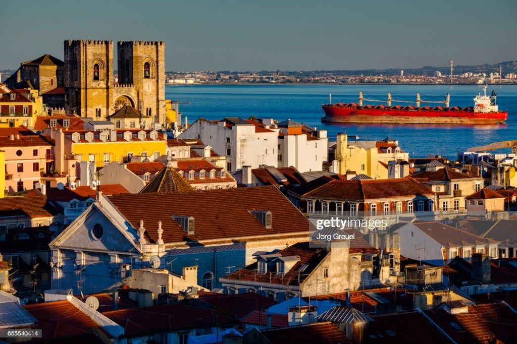 Lisbon at sunset : Stock Photo