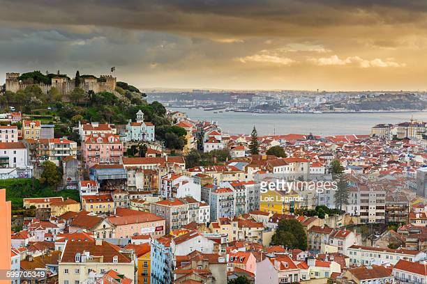Lisbon bay cityscape on sunset