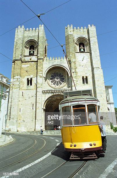 Lisbon cathedral and a tramway