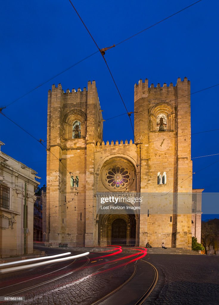 Lisbon cathedral at night, Lisbon, Portugal : Stock Photo