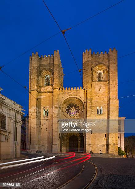 Lisbon cathedral at night, Lisbon, Portugal