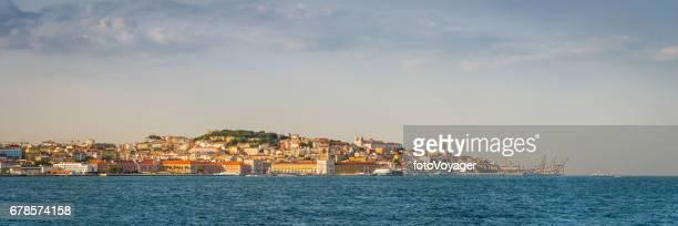 Lisbon city landmarks overlooking blue waterfront panorama Portugal